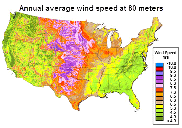 Wind Generating Capacity Is Distributed Unevenly Across The United - Us wind energy map
