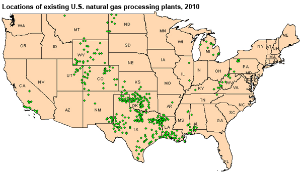 map of locations of existing u s natural gas processing plants 2010 as described in