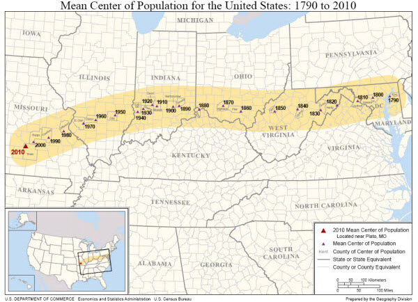 map of mean center of population for the united states 1790 2010 as described