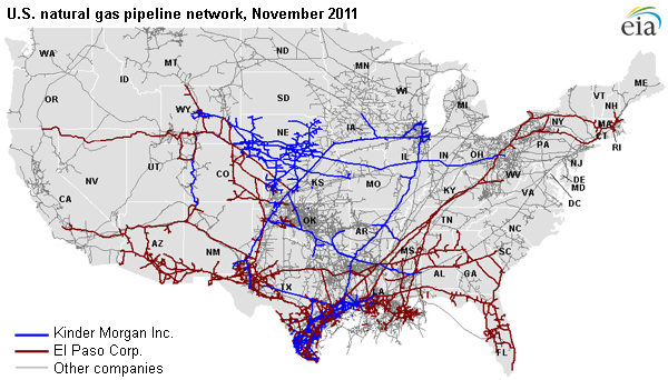 Proposed KMI And El Paso Merger Would Create Largest US Natural - Pipelines in us map