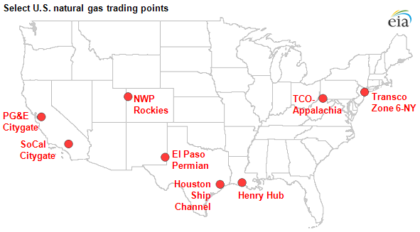 map of Select U.S. natural gas trading points, as described in the article text