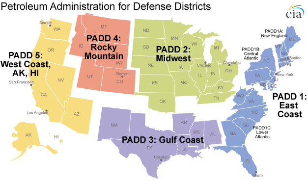 map of Petroleum Administration for Defense Districts, as described in the article text