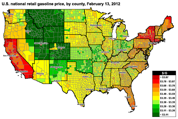 Retail Gasoline Prices In The Rocky Mountains Fall As US Average - Map of mountains in us