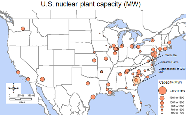 map of u s operating nuclear reactor capacity as described in the article text