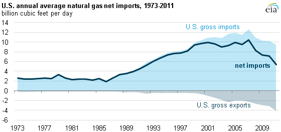 graph of U.S. annual average natural gas net imports, 1973-2011, as described in the article text