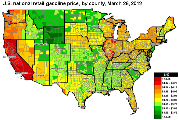 graph of U.S. national retail gasoline price, by county, March 23, 2012, as described in the article text