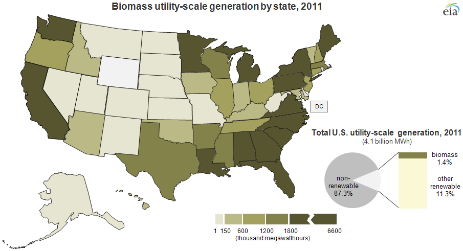 Renewable Utilityscale Electricity Production Differs By Fuel - Biomass power consumption map us