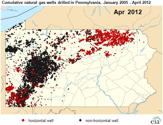 Map Of Ulative Natural Gas Wells Drilled In Pennsylvania January 2005 April 2012
