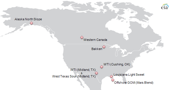 map of select crude oil price points in North America, as described in the article text