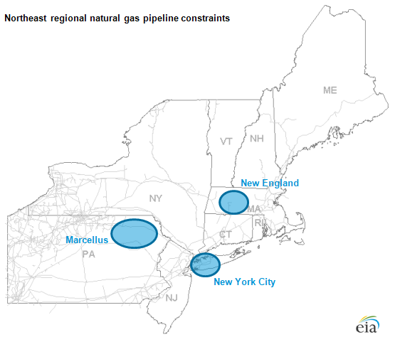map of Northeast regional natural gas pipeline constraints, as described in the article text