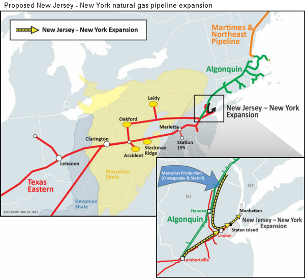 map of Proposed New Jersey - New York natural gas pipeline expansion, as described in the article text