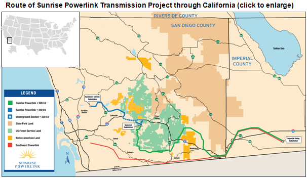 map of Route of Sunrise Powerlink Transmission Project through California, as described in the article text