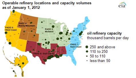 map of Operable refinery locations and capacity volumes as of January 1, 2012, as described in the article text