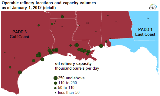 Map Us Gulf Coast map of Operable refinery locations and capacity volumes as of January 1, 2012, as