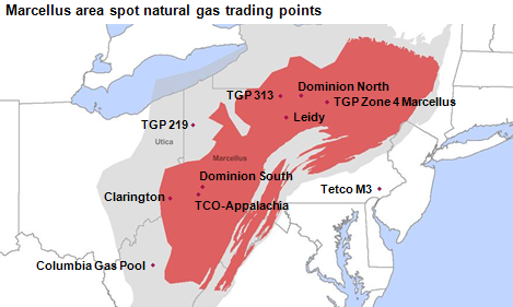 map of Marcellus area spot natural gas trading points, as described in the article text