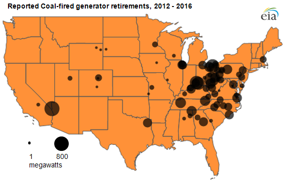 map of Planned retirements of coal-fired generators, as described in the article text