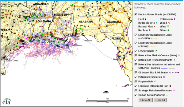 image of updated Gulf of Mexico interactive energy infrastructure map, as described in the article text