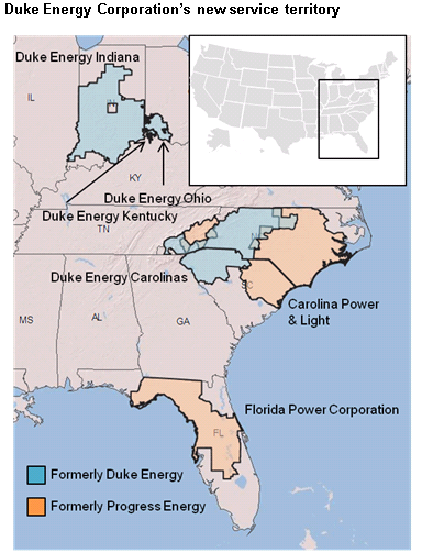 Map Of The Duke Energy Service Territory As Described In The Article Text