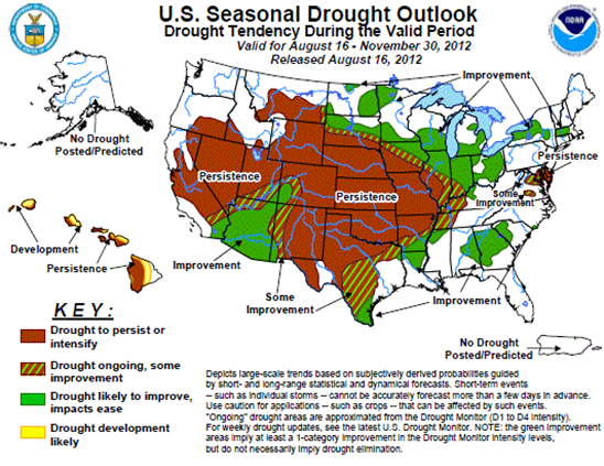 map of united states drought forecast as described in the article text