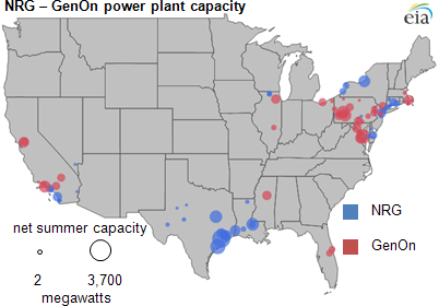map of NRG and GenOn's power plants' capacity, as described in the article text