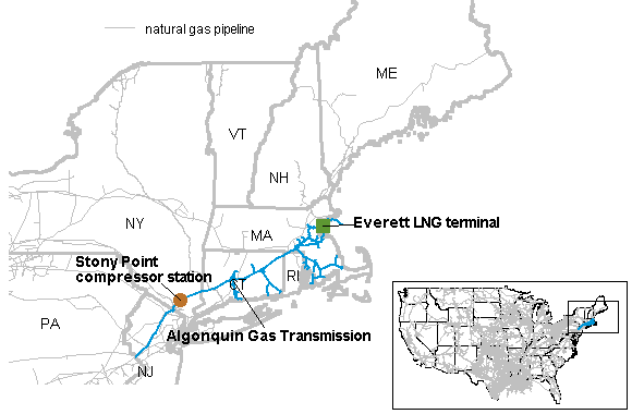 map of the Stony Point compressor station on the Algonquin Gas Transmission (AGT) pipeline