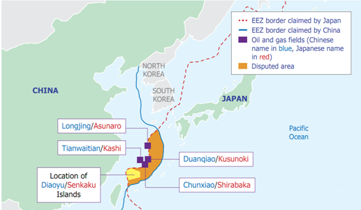 Map of the disputed areas and oil and natural gas resources in the East China Sea