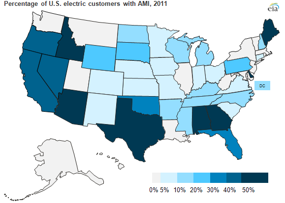Map of U.S. customers with AMI, as explained in article text