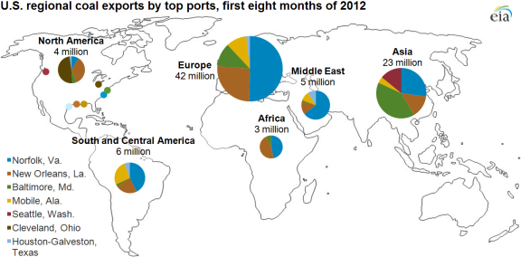 Map Of Exports By Top Port As Described In The Article Text