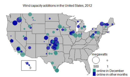 Wind Industry Installs Almost MW Of Capacity In December - Map of the wind farms in the us