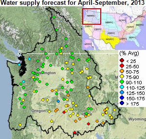 Map of water supply forecast, as explained in the article text