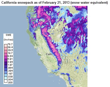 Map of California snowpack, as explained in the article text