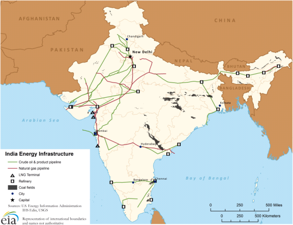 Map of Indian energy infrastructure, as explained in the article text