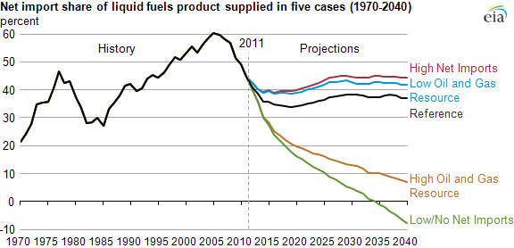 Graph of net import share of liquid fuels, as explained in the article text