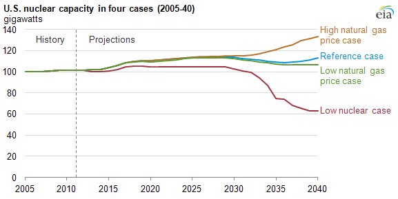 chart of U.S. nuclear capacity in four cases, 2005-2040, as described in the article text