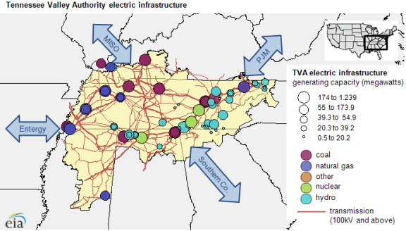 Map of TVA electric infrastructure, as explained in the article text