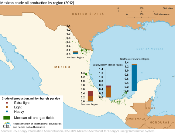 Mexico Week Lower Mexican Oil Production Contributes To Lower - Oil production map us