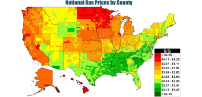 Heat map of U.S. gasoline prices.