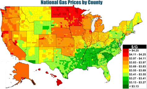 Map of U.S.gasoline prices, as explained in the article text.