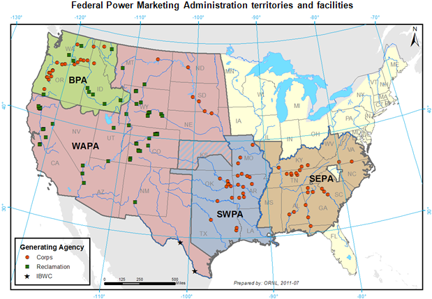 Federal Power Marketing Administrations operate across much of the