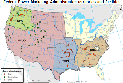 Map federal power marketing territories, as explained in the article text.