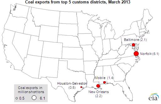 map of monthly coal exports, as explained in the article text.
