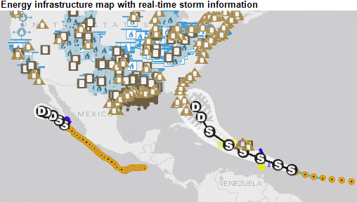 Map of energy infrastructure and storm information, as explained in the article text