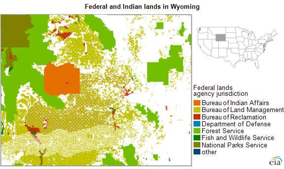 map of federal and Indian lands in Wyoming, as explained in the article text