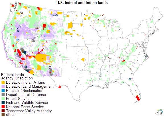 Production Of Fossil Fuel From Federal And Indian Lands Fell In - Map of indian lands in the us