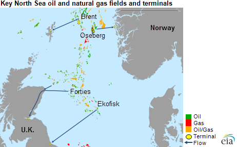 Map of key North Sea fields and terminals, as explained in the article text