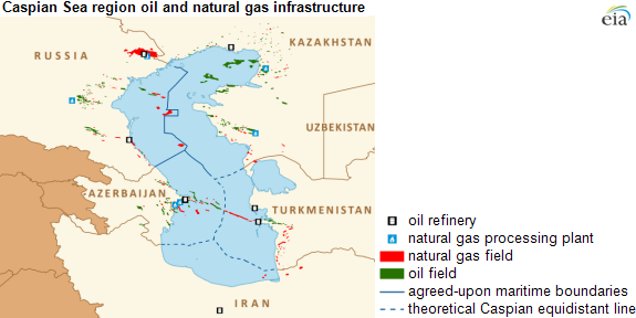 map of caspian region oil and nat gas infrastructure, as explained in the article text