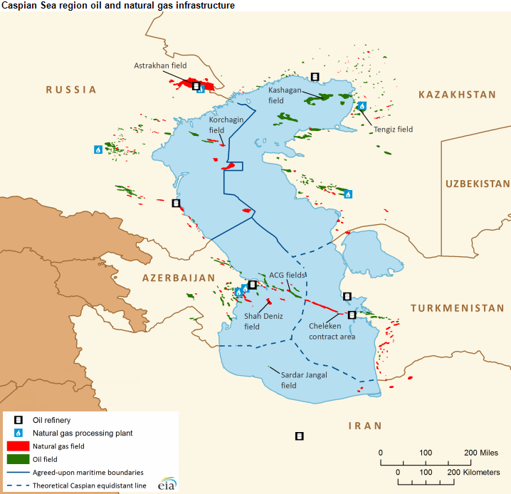 Oil and natural gas production is growing in Caspian Sea region