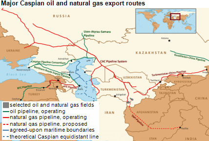 map of caspian region oil and nat gas export routes, as explained in the article text