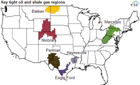 Map of key tight oil and shale gas regions, as explained in the article text