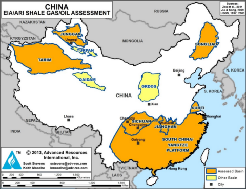 map of China with EIA/ARI shale gas/oil assessment, as explained in the article text